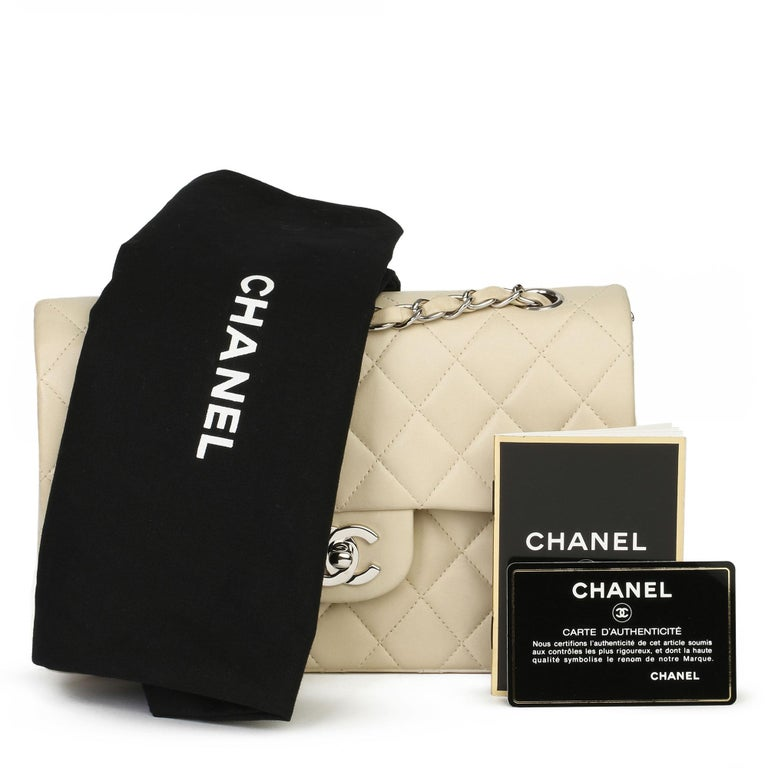 Chanel Beige Quilted Lambskin Leather Small Classic Double Flap Bag For Sale 11
