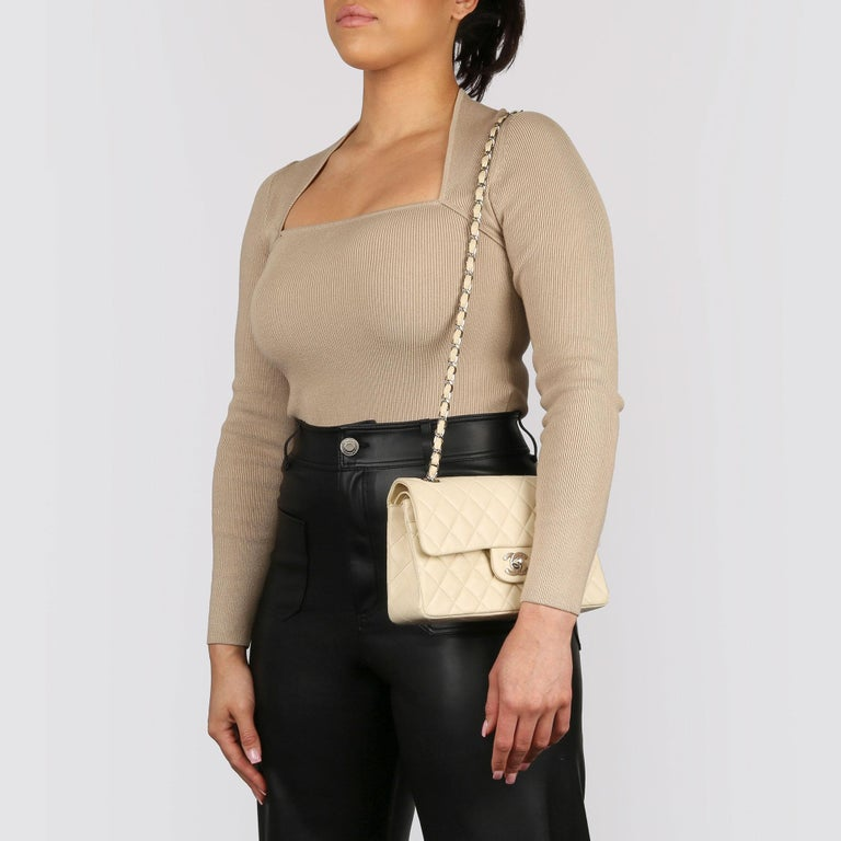 Chanel Beige Quilted Lambskin Leather Small Classic Double Flap Bag For Sale 12