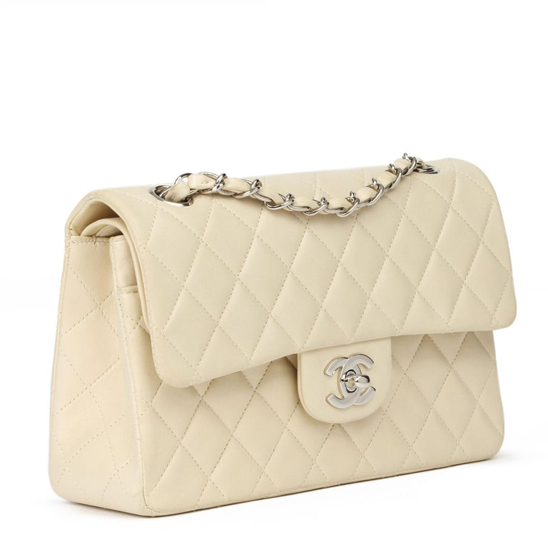CHANEL Beige Quilted Lambskin Leather Small Classic Double Flap Bag  Xupes Reference: HB3942 Serial Number: 5887576 Age (Circa): 2000 Accompanied By: Chanel Dust Bag, Authenticity Card, Care Booklet Authenticity Details: Authenticity Card, Serial