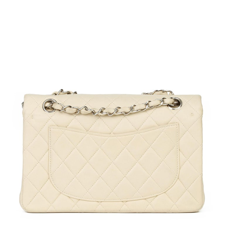 Chanel Beige Quilted Lambskin Leather Small Classic Double Flap Bag For Sale 1