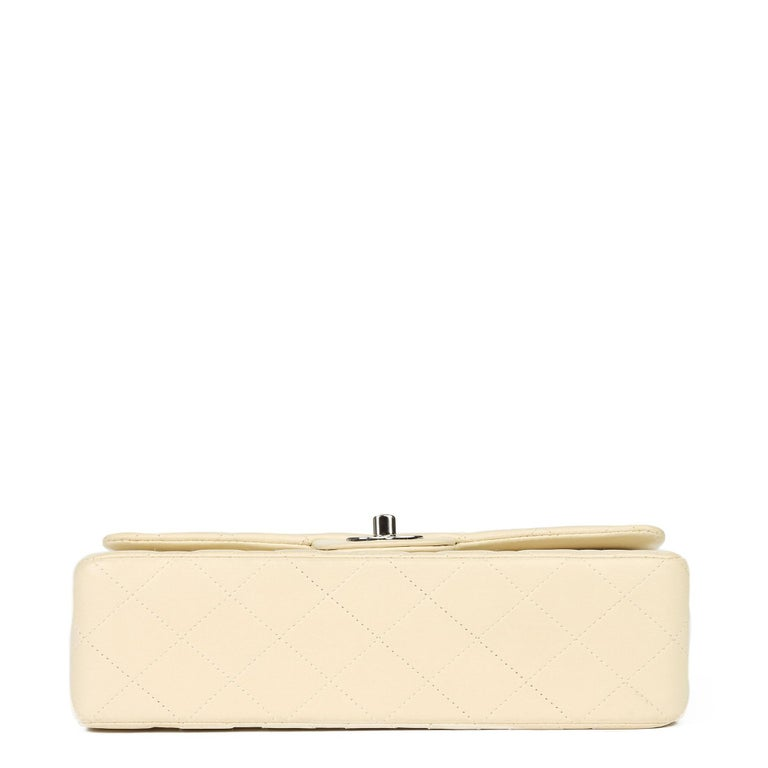 Chanel Beige Quilted Lambskin Leather Small Classic Double Flap Bag For Sale 2