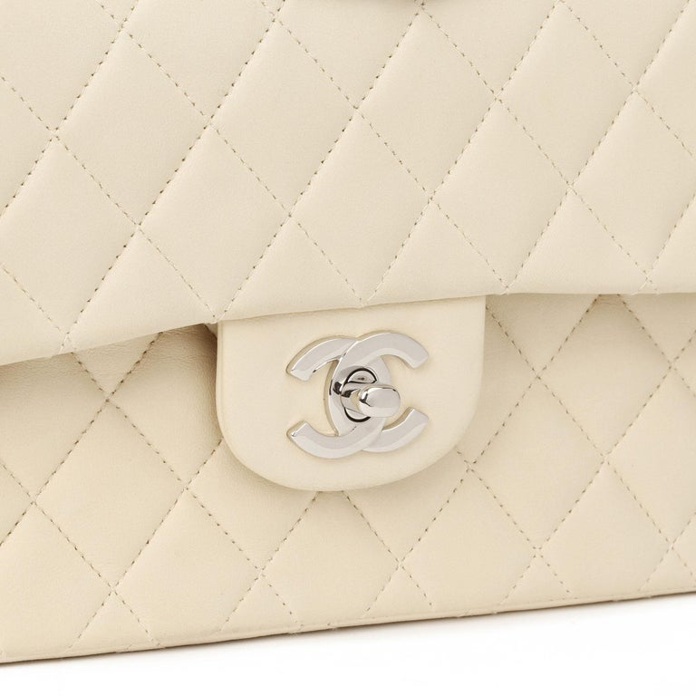 Chanel Beige Quilted Lambskin Leather Small Classic Double Flap Bag For Sale 3