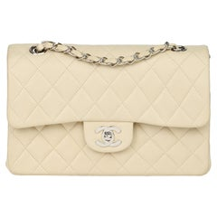 Chanel Beige Quilted Lambskin Leather Small Classic Double Flap Bag