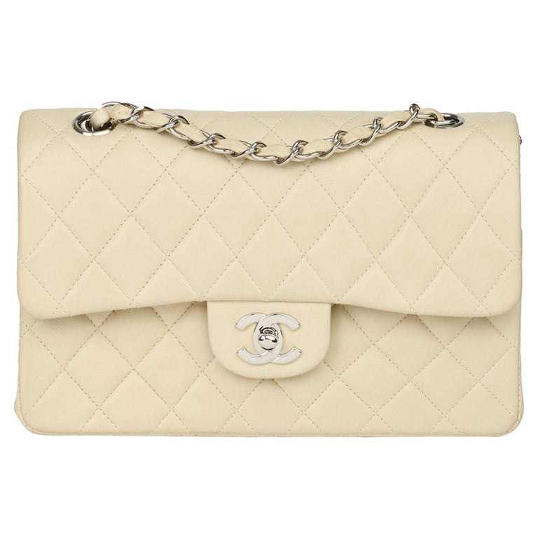 Chanel Beige Quilted Lambskin Leather Small Classic Double Flap Bag For Sale