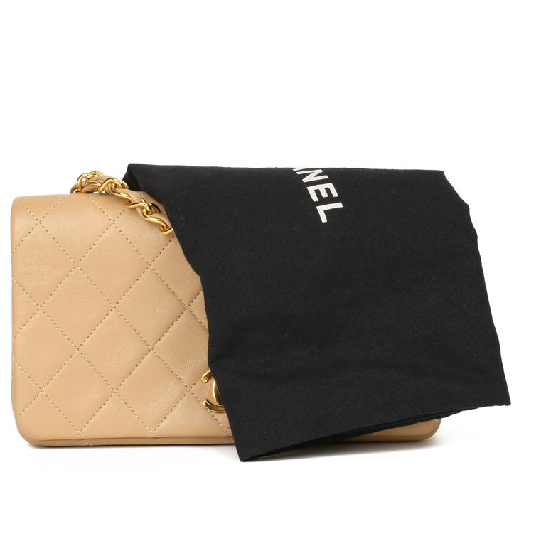 Chanel Beige Quilted Lambskin Vintage Mini Flap Bag For Sale 6
