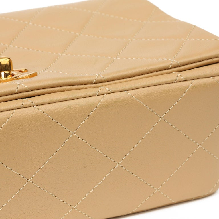 Chanel Beige Quilted Lambskin Vintage Mini Flap Bag For Sale 7