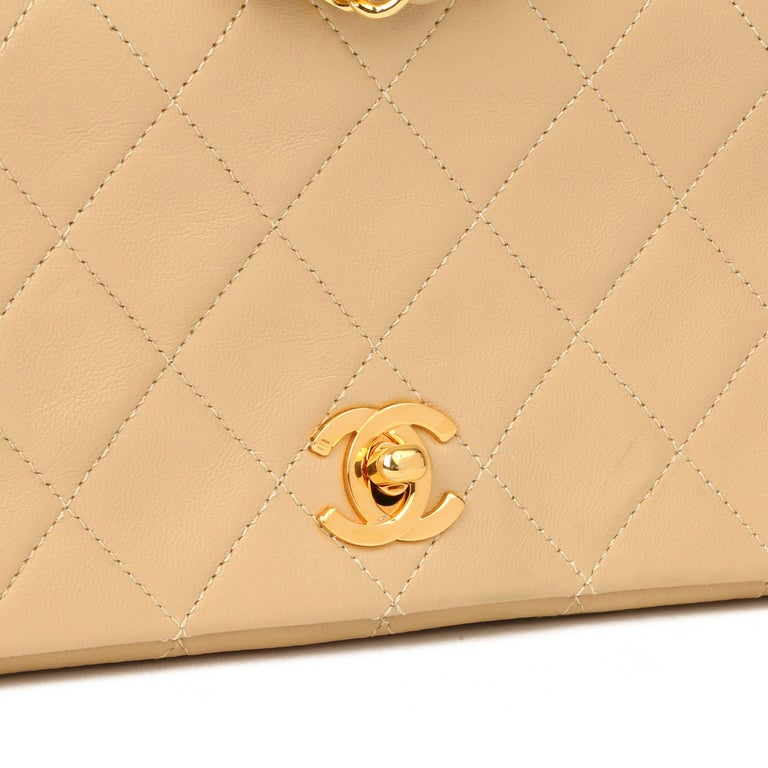Chanel Beige Quilted Lambskin Vintage Mini Flap Bag For Sale 1