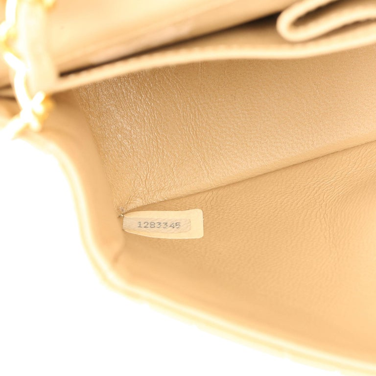 Chanel Beige Quilted Lambskin Vintage Mini Flap Bag For Sale 4