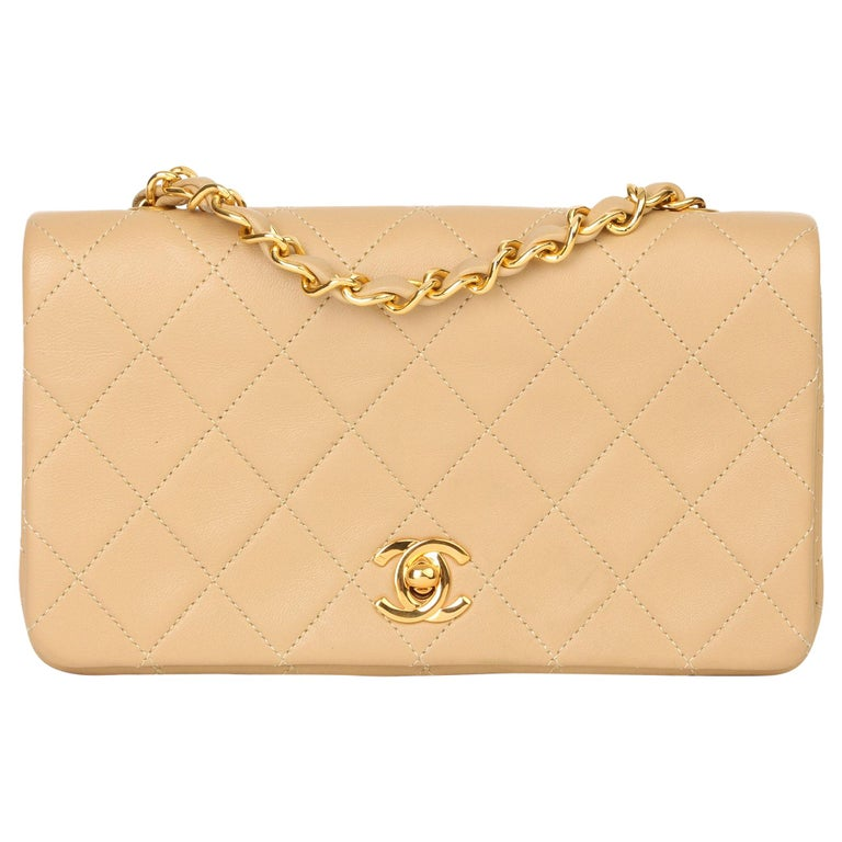 Chanel Beige Quilted Lambskin Vintage Mini Flap Bag For Sale