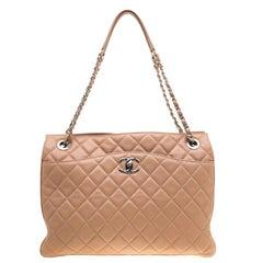Chanel Beige Quilted Leather 3 Bag Shoulder Bag
