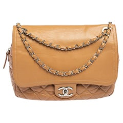 Chanel Beige Quilted Leather And Leather Jumbo Easy Flap Bag