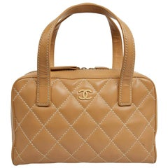 CHANEL Beige Quilted Leather Bag