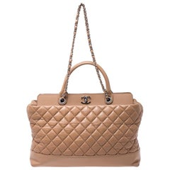 Chanel Beige Quilted Leather CC Shopper Tote