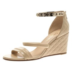 Chanel Beige Quilted Leather Charm Ankle Cuff Wedge Sandals Size 40.5