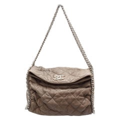 Chanel Beige Quilted Leather Foldover Bag