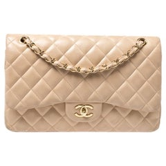 Chanel Beige Quilted Leather Jumbo Classic Double Flap Bag
