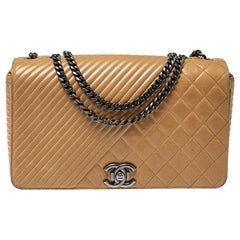 Chanel Beige Quilted Leather Large Coco Boy Flap Bag