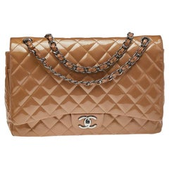 Chanel Beige Quilted Leather Maxi Classic Double Flap Bag