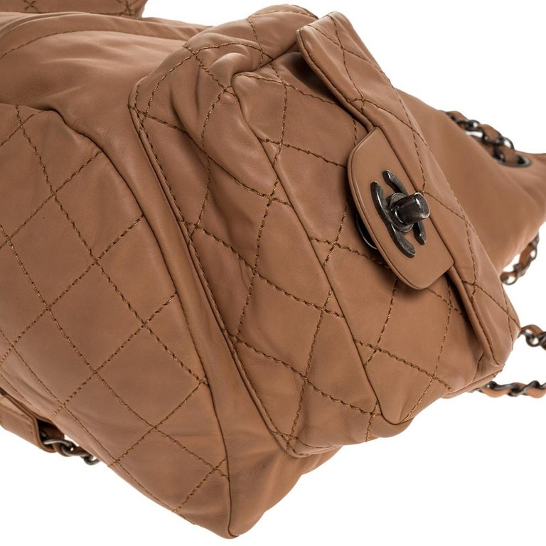 Chanel Beige Quilted Leather Small Backpack Is Back Backpack For Sale 6