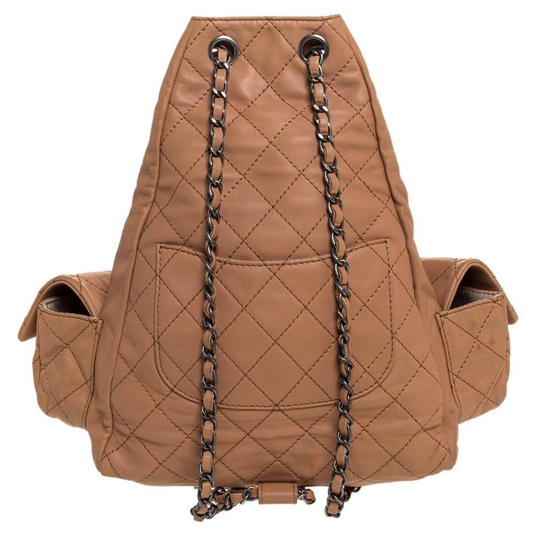 We love anything Chanel and currently, this backpack has left us smitten! This 'Backpack Is Back' backpack boasts of fabulous style and outstanding details. It flaunts a quilted leather exterior with the iconic CC logo on the flap pockets. The bag