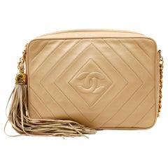 Chanel Beige Quilted Leather Vintage Camera Bag