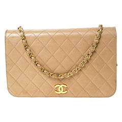 Chanel Beige Quilted Leather Vintage Flap Bag