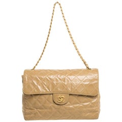 Chanel Beige Quilted Leather Vintage Jumbo Single Flap Shoulder Bag