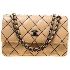 30ca5f7fc86ada Chanel Beige Quilted Leather Wild Stitch Surpique Flap Bag