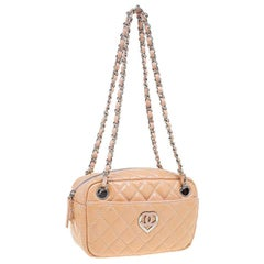 Chanel Beige Quilted Patent Leather Valentine Collection Camera Case Bag