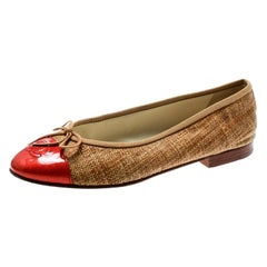 Chanel Beige Raffia With Red Patent Leather CC Cap Toe Ballet Flats Size 37