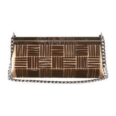 Chanel Beige Satin Applique Frame Bag