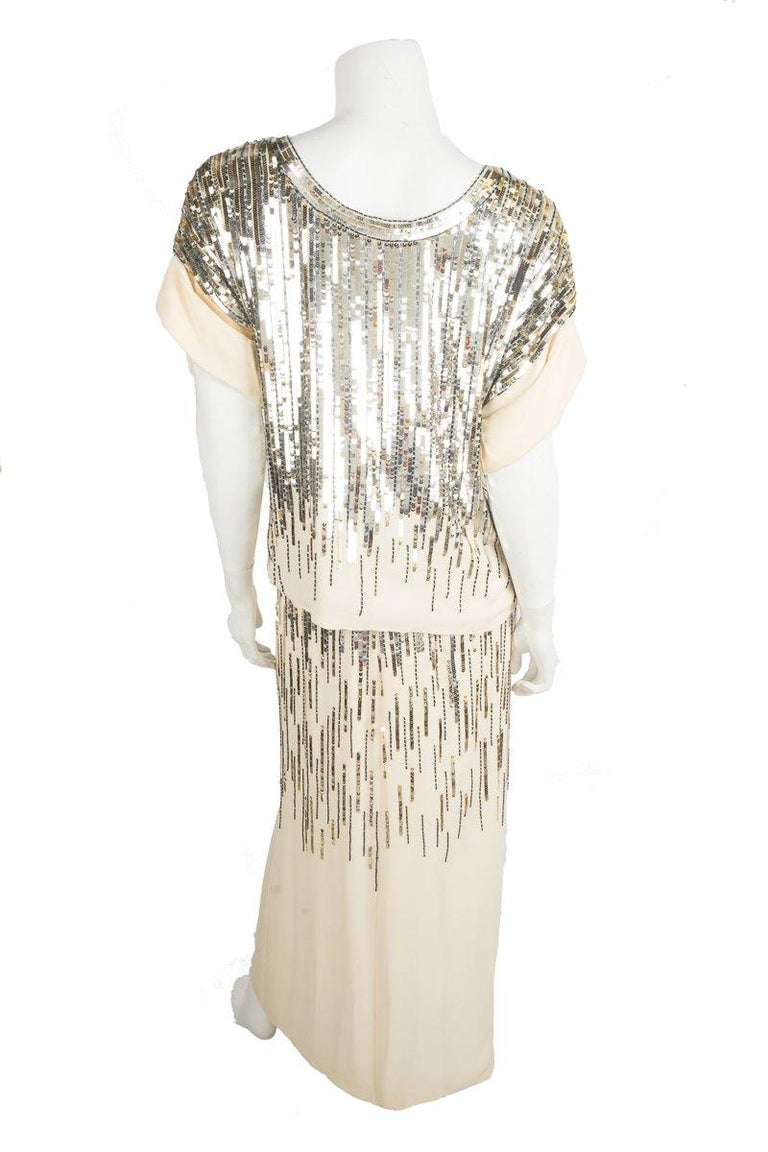 Chanel Beige Silk and Sequins Skirt Set In Good Condition For Sale In Scottsdale, AZ