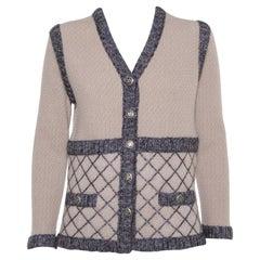 Chanel Beige Silk & Cashmere Contrast Trim Detail Button Front Cardigan L