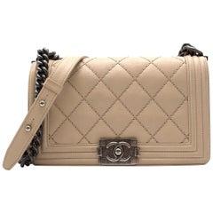 Chanel Beige Stitch Quilted Boy Bag