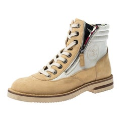 Chanel Beige Suede And White Canvas Ankle Boots Size 38.5