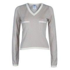 Chanel Beige V Neck Sweater M