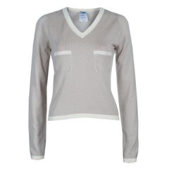 Chanel Beige V Neck Sweater M