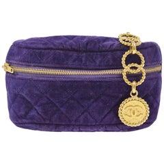 Chanel Belt Bag Rare Vintage Velvet Fanny Pack Waist Purple Leather Baguette