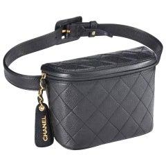 Chanel Belt Rare Vintage 1995 Caviar Fanny Pack Waist Bum Black Leather Bag