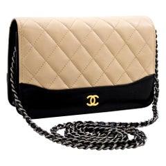 CHANEL Bi-color Black Beige WOC Wallet On Chain Shoulder Bag Purse Leather