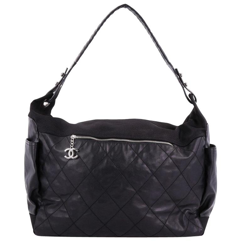 e4db1a36cd3e Chanel Biarritz Hobo Quilted Coated Canvas XL For Sale at 1stdibs