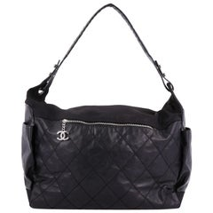 Chanel Biarritz Hobo Quilted Coated Canvas XL