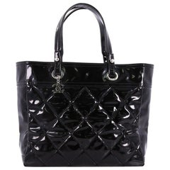 Chanel Biarritz Pocket Tote Quilted Patent Vinyl Large