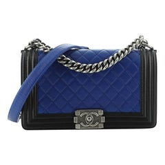 Chanel Bicolor Boy Flap Bag Quilted Calfskin Old Medium