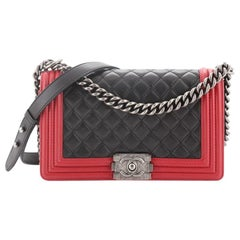 Chanel Bicolor Boy Flap Bag Quilted Lambskin Old Medium