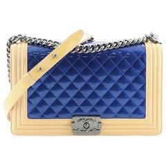 Chanel Bicolor Boy Flap Bag Quilted Patent New Medium