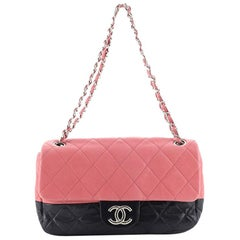 Chanel Bicolor CC Chain Flap Bag Quilted Lambskin Medium