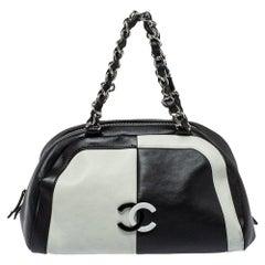Chanel Bicolor Leather CC Bowling Bag