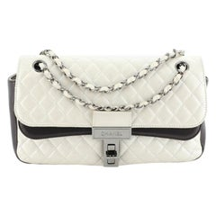 Chanel Bicolor Mademoiselle Lock Double Flap Bag Quilted Lambskin Medium