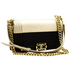 CHANEL Bicolor Medium Boy Chain Flap Shoulder Bag Black Gold